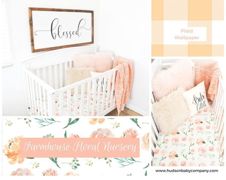 Farmhouse Watercolor Floral Pink And Peach Baby Bedding The Cutest Girls Nursery With Wood Sig Nursery Decor Inspiration Pink Baby Nursery Floral Baby Bedding