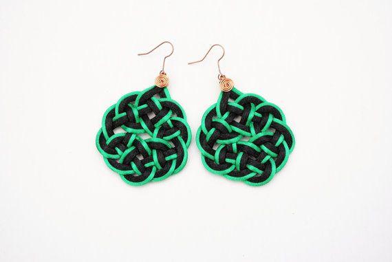 Asian style earrings black and green earrings by elfinadesign
