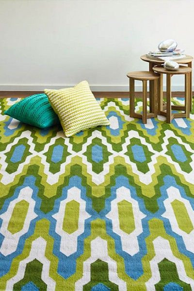 Amalfi, Mohito  A vibrant green, blue and natural white design flatweave NZ wool rug.  Available to see in store now and available to order in the following sizes:  160 x 230, 200 x 290, 250 x 350