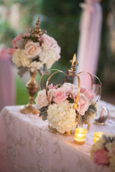 Glamorous gold crowns and pink centerpieces for a garden wedding in California! {Michelle Kim Photography}