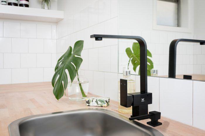 Meir's Square Matte Black Soap Dispenser (MP08) and Square Matte Black Kitchen Mixer (MK01)