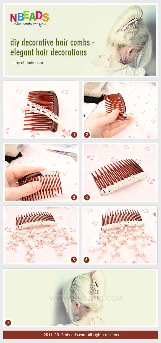 diy decorative hair combs - elegant hair decorations