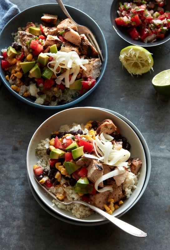 Cauliflower Rice Chicken Burrito Bowls from www.whatsgabycooking.com (@whatsgabycookin)