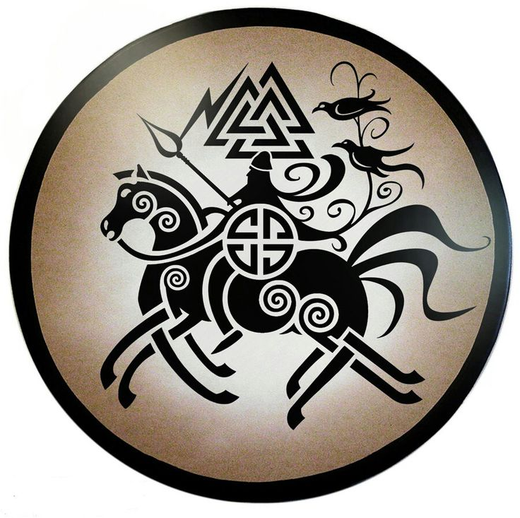 Odin riding Sleipnir with VALKNUT above.