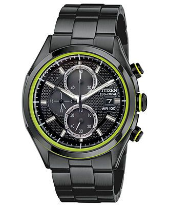 Citizen Watch, Men's Chronograph Drive from Citizen Eco-Drive Black Ion-Plated Stainless Steel Bracelet 40mm CA0435-51E - Citizen - Jewelry & Watches - Macy's