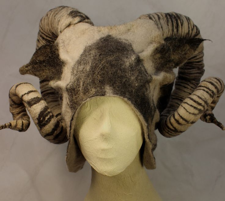 Wet Felted Horned hat by Norah Walsh