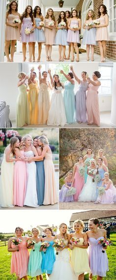 trendy pastel bridesmaid dresses for wedding season 2015 / tendência de vestidos cores pastéis na temporada de casamentos 2015