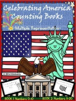 $3 Celebrating America Counting Books (Numbers 0-10  11-20) 2 Books