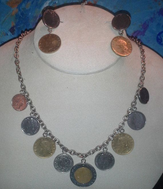 Estate Italian lira coin necklace and earrings by SyrinxAsylumArts