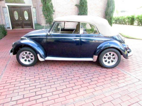 For sale in Houston, Texas 77076, a 1970 VW Convertible in good condition. Nice Cloth Convertible top with Boot pioneer radio with 4 4×6 pioneer speakers and a 10 inch subwoofer custom interior recently refinished. Chevy Indigo Blue Exterior, Price: $13,000