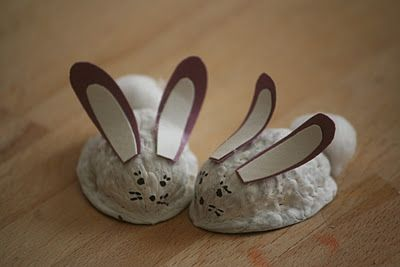Walnut Bunnies for Holiday Fair- glue pistachio shells standing up for ears and pom-pom for tail. Cut brown felt for underbelly