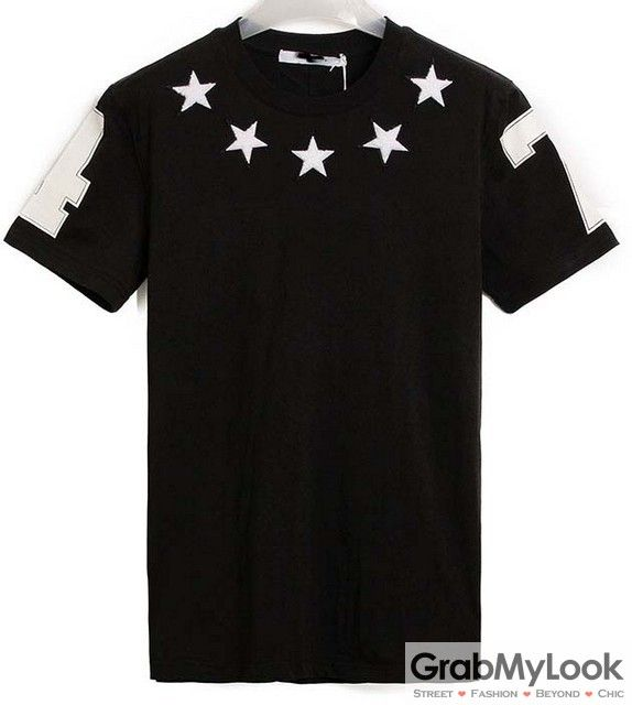 GrabMyLook Stars 47 Black White Mens Short Sleeves T-Shirt Summer Beach Wear