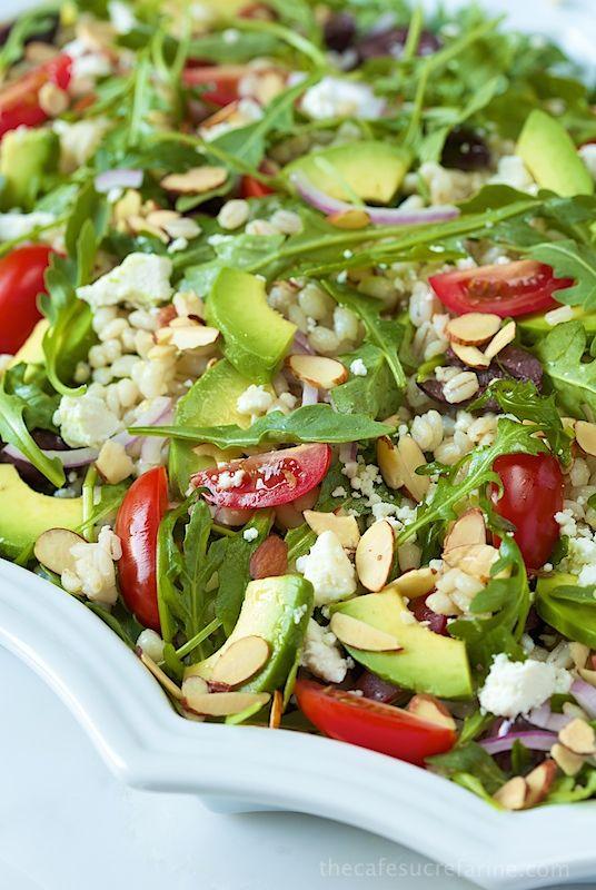 Greek-Style Avocado and Barley Salad. A super healthy, fresh and delicious salad.