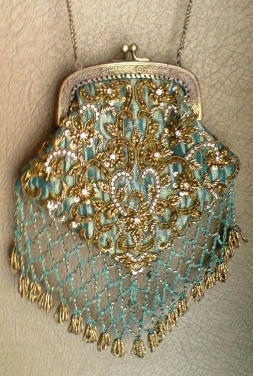 Aqua and gold beaded bag, love!