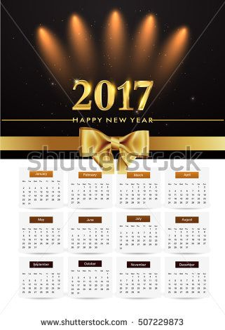Design Calendar for 2017, background glowing element isolated on black background, vector elements for calendar 2017.