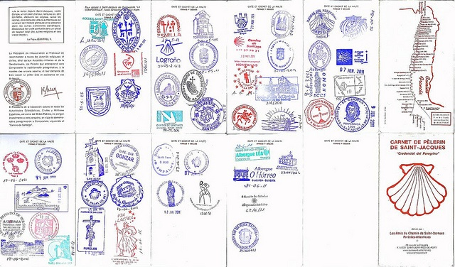 By the time a pilgrim reaches Santiago de Compostela, the Passport should look something like this. It's suggested that a stamp (sello) is added at every stop along the Camino, with a minimum of two per day from Sarria onwards. The Pilgrim Office in Santiago checks your stamps for one that is at least 100km on foot from Santiago and then issues a Compostela, certifying your journey.