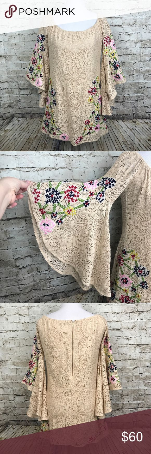 """JUDITH MARCH Small Lace Dress Bell Sleeves JUDITH MARCH Small Lace Dress Bell Sleeves Floral Crochet Boho Tunic Raglan  30"""" shoulder to hem and 20"""" armpit to armpit but will stretch more Judith March Dresses"""