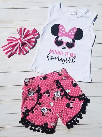 """Minnie is my Homegirl"" Top and Ruffle Shorts 2PC Set"