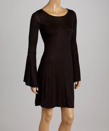 Look what I found on #zulily! Black Bell-Sleeve Dress #zulilyfinds