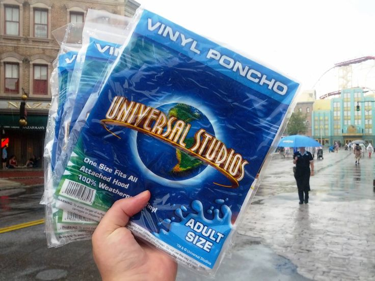 Yearly weather report averages for each month in Orlando.  Picture shows rain ponchos at Universal Orlando.  They're also quite expensive at Disney World (but a good quality).  We always just buy ours at Target (in the camping section) for less than 2 dollars.  Easy to pack and put in a backpack for the parks.  (And I ALWAYS wear one on Kali River Rapids.  I may look geeky, but I stay nice and dry)!
