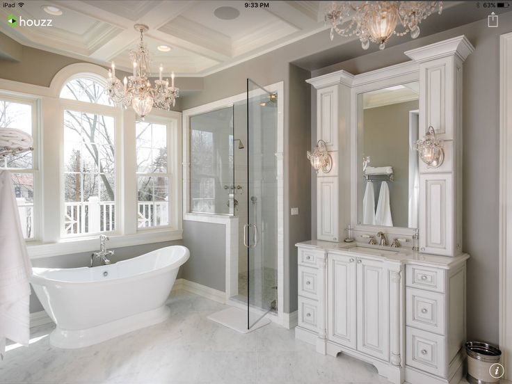 Attractive White And Grey Bathroom With Coffered Ceiling And Accent Candeliers