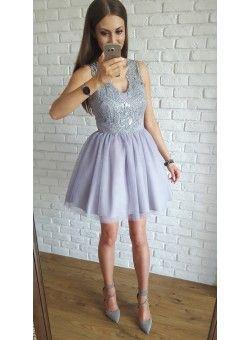 Honey- tiulowa sukienka z gipiurą szary  349 zł  Tulle prom dress