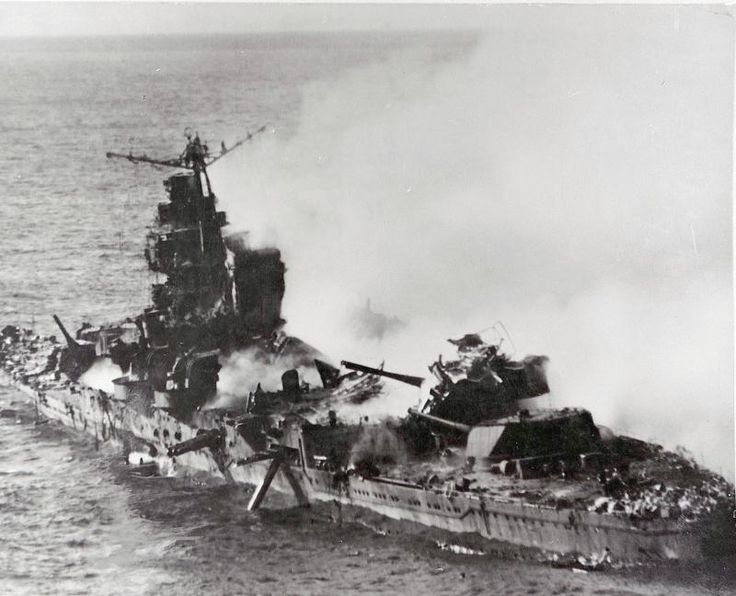 Japanese heavy cruiser of the Mogame Class on fire after attack during the battle of Midway