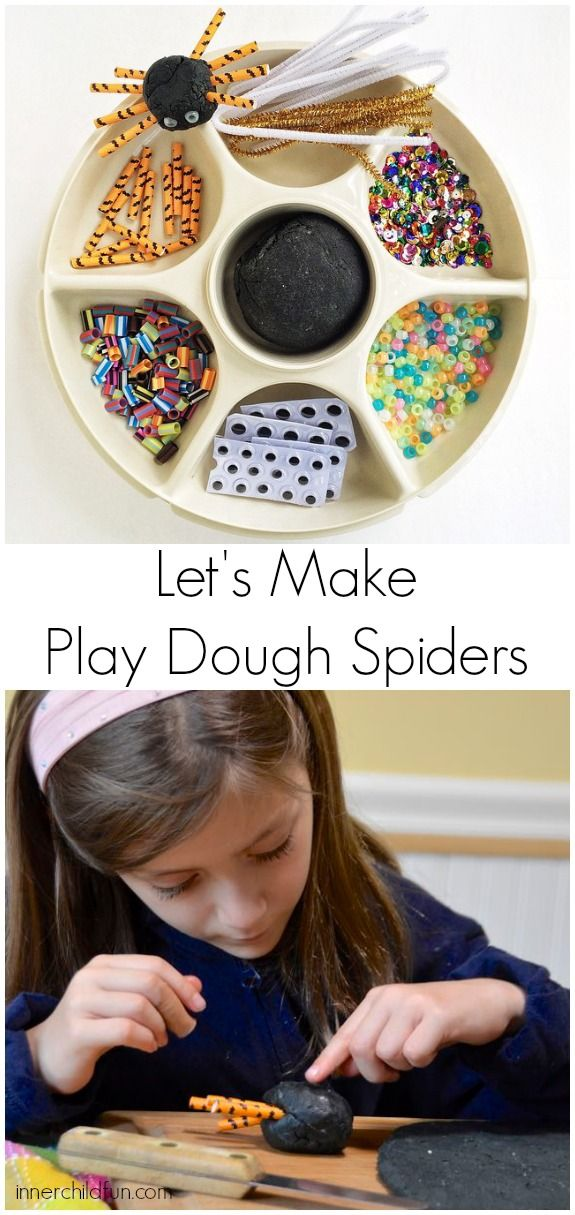Halloween Activity: Play Dough Spiders -- great way to use leftover craft materials!