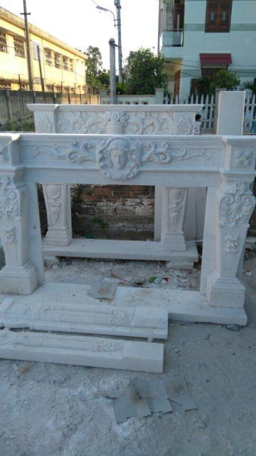 Mantel/fireplace in white marble.  Pls contact danang.marble@gmail.com or danangmarble.com.vn for order or more information.