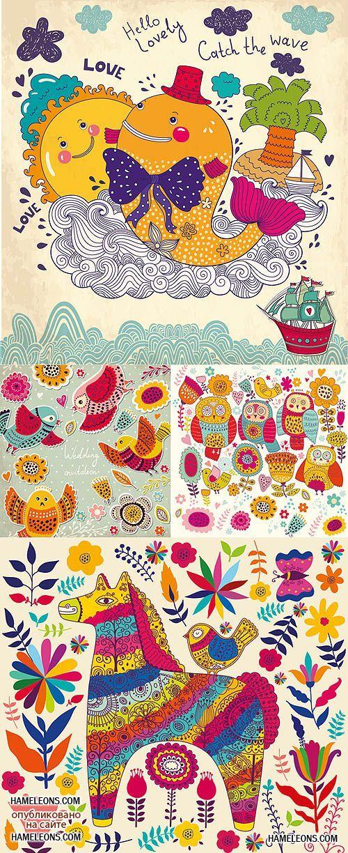 Детские яркие рисунки - птички, сова, цветы, кит - векторный клипарт