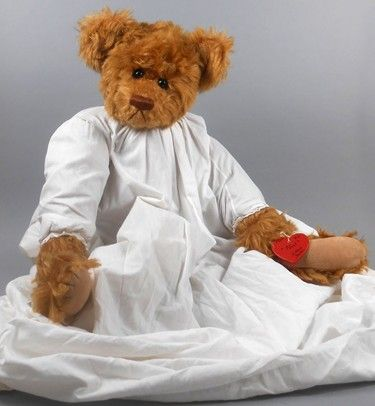 """Adopt a Bear todayNoel by: Hillary Hulen 21"""" fully jointed mohair bear, poly/pellet stuffed.  Vintage gown with original wooden tag."""