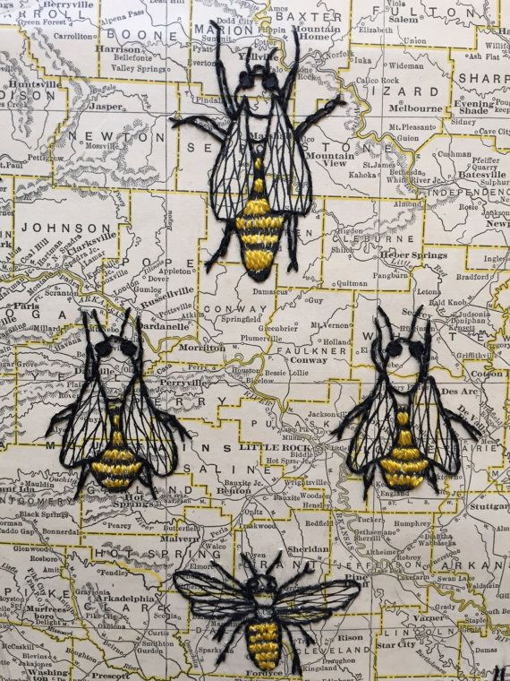 Map inspiration:  $50 Arkansas map with different bees & honeycomb embroidered on paper map. Cool idea. Vintage Map of Arkansas Embroidered by Sarucas on Etsy