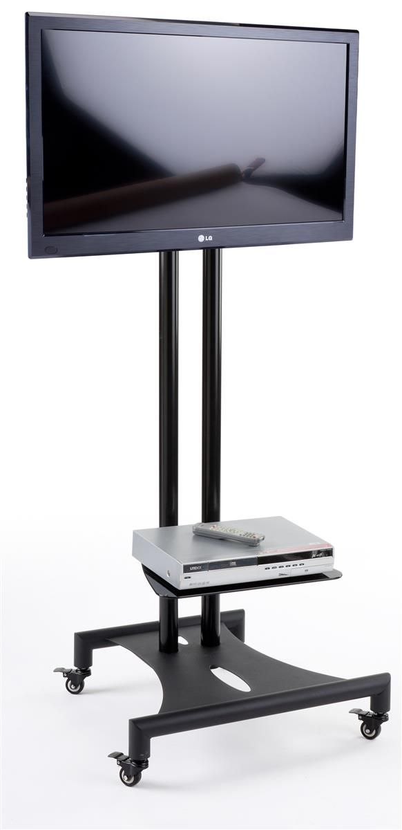 mobile flat panel tv stand locking casters