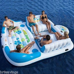Giant 6 Person Inflatable Raft Pool Tropical Tahiti Ocean Floating Island Huge!
