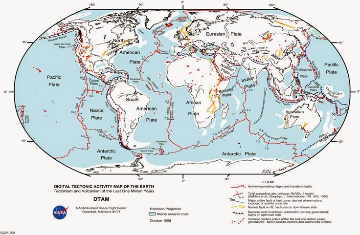 World map of fault lines and tectonic plates. Earthquake map.