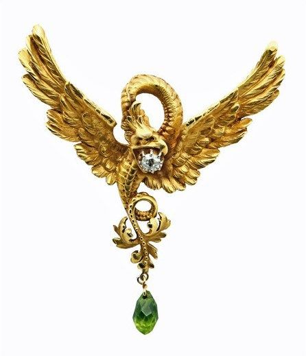 French Art Nouveau 18K mythological, Diamond and Peridot Necklace, C.1900. (c. 1900 France)