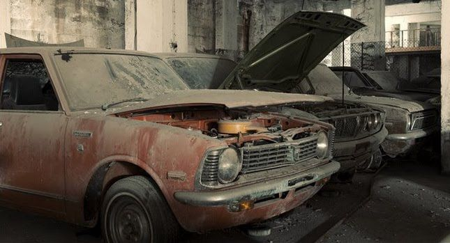 Brand new cars waiting to sell since 1974 in Varosha, Cyprus