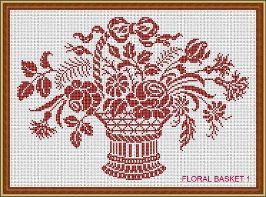 Cesto floreale dell'annata monocromatica 1 di MyTreasureIsland