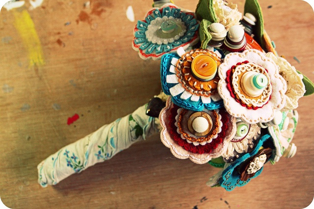 Carrie's jelly belly and vintage lace wedding bouquet...these are AWESOME!!!!!!!!!!