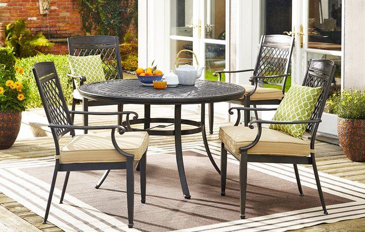 CANVAS Covington Round Cast Patio Table & Sling Patio Dining Chairs | Elegant Escape | Canadian Tire http://www.canadiantire.ca/inspiration/en/seasonal/canvas/elegant-escape.html #MyCANVAS