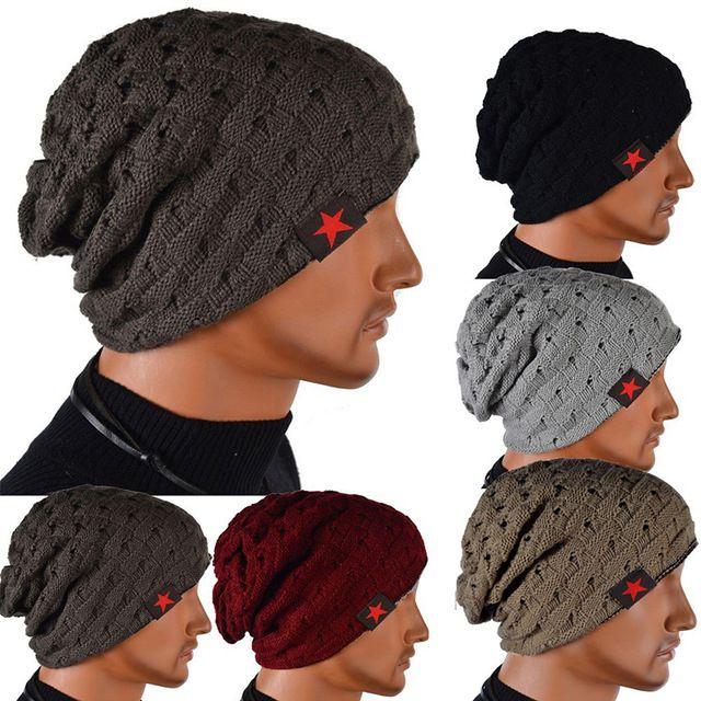 Gorro de invierno otoño reversible beanie sombrero de los hombres sombreros de las mujeres, touca gorro, snow caps sombrero de punto skull chunky baggy caliente unisex skullies