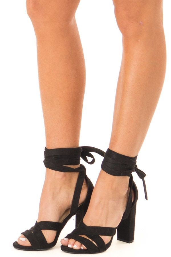 2f3dd74918d Black Faux Suede Strappy Heel with Ankle Wrap Detail in 2019 | Run ...