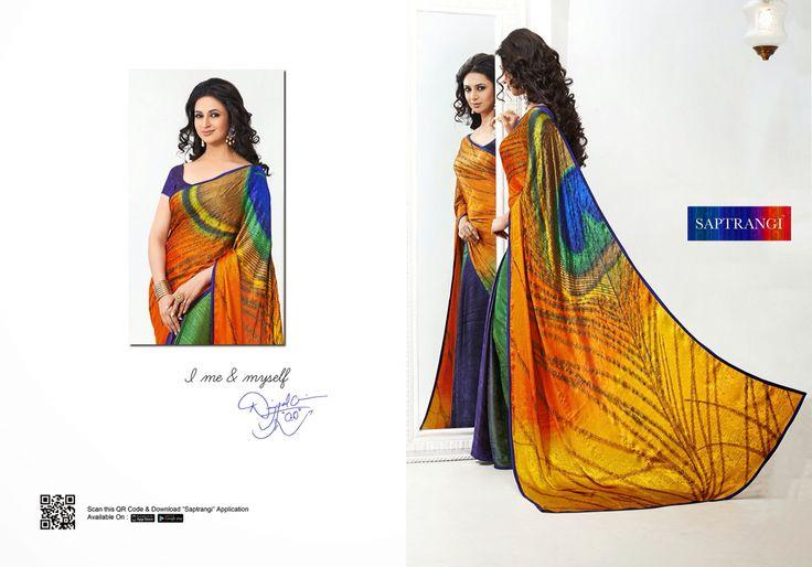 Peacock feather saree www.saptrangi.com