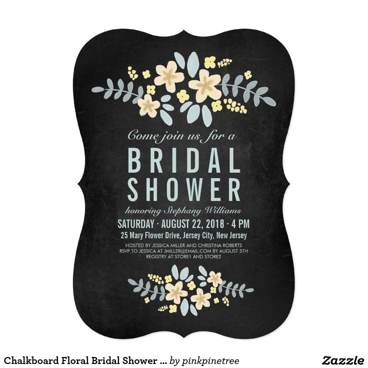 bridal shower invitations registry etiquette%0A Chalkboard Floral Bridal Shower Invitation with a Photo on a back side