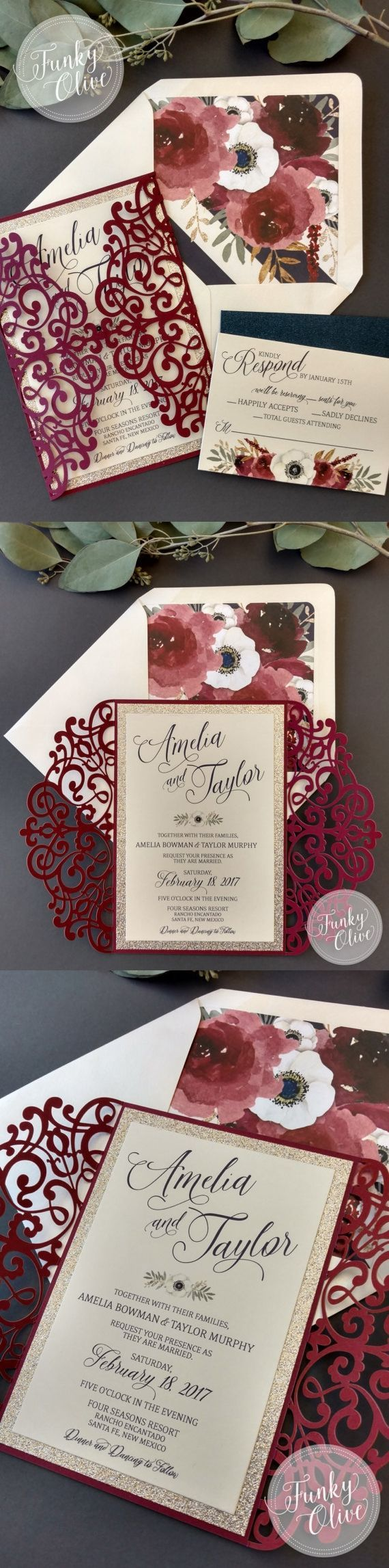 funny wedding invitation rsvp goes viral%0A Laser Cut Wedding Invitation Package Burgundy Navy Gold Glitter Anemone  Florals Invitation Response Card DEPOSIT or