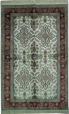 Hand-Knotted Rug 5' X 8' Silk Ivory - Red Transitional Rug Oriental