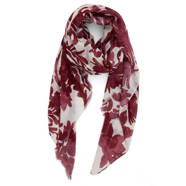 Women's Nordstrom 'Antique Damask' Print Scarf (£31) ❤ liked on Polyvore featuring accessories, scarves, burgundy combo, wrap shawl, nordstrom scarves, burgundy scarves, antique shawl and lightweight scarves