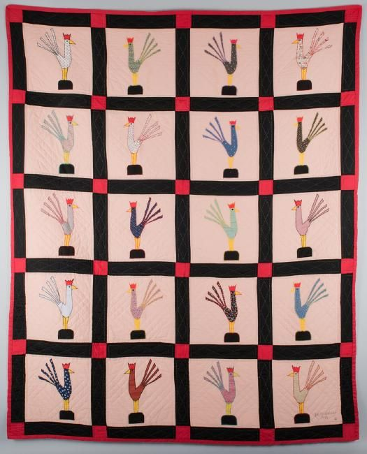 Garland and Minnie Adkins rooster quilt