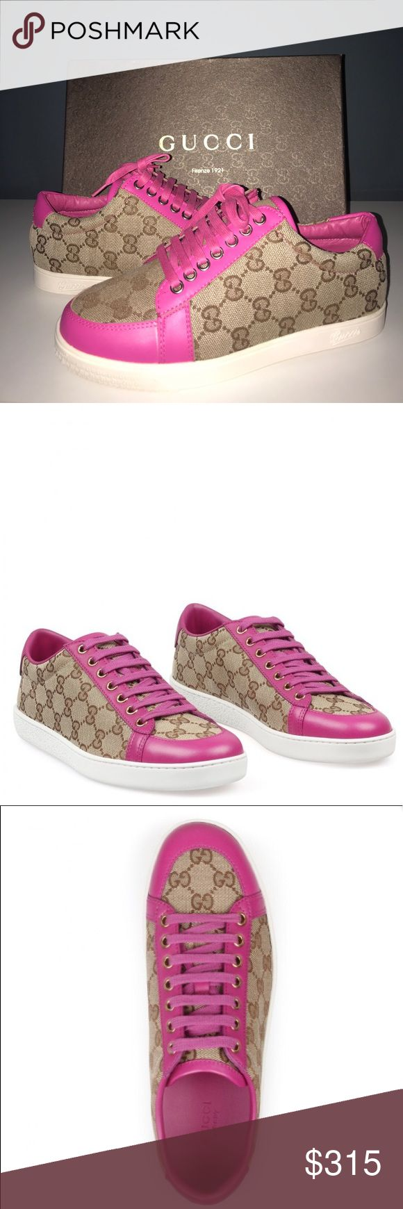 Gucci Pink and Beige Shoes (never worn) Original GG Canvas Brooklyn Lace up!! Size 6. Original Price was $475, price negotiable Gucci Shoes Sneakers