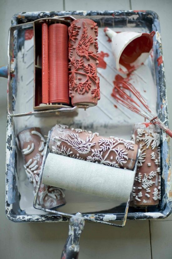 Love this patterned roller idea to be used in place of wallpaper!